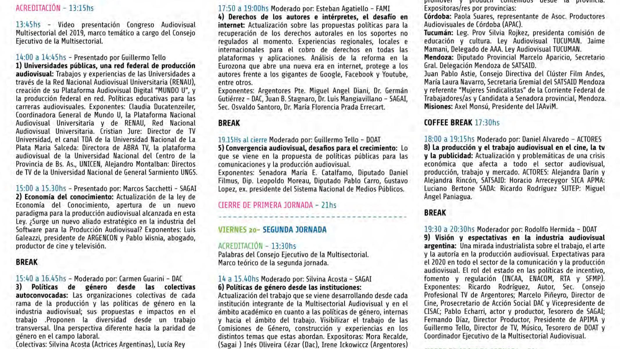 Programa 4° Congreso Audiovisual Multisectorial